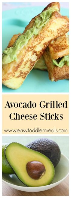 Grilled cheese meets french toast with an added healthy twist! This avocado grilled cheese sticks recipe is so easy to whip up and so delicious. It's also perfect for little fingers to grasp and hold. Give it a whirl, you can't go wrong! Grilled Cheese Sticks, Cheese Sticks Recipe, Grilled Cheese Avocado, Grilled Cheeses, Breakfast Toast, Breakfast For Kids, Breakfast Recipes, Breakfast Ideas, Easy Toddler Meals