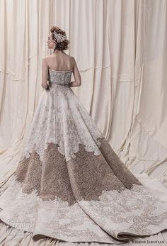 krikor jabotian spring 2018 bridal strapless straight across neckline full embellishment princess glamorous a  line wedding dress royal train (09) bv -- Krikor Jabotian Spring 2018 Wedding Dresses