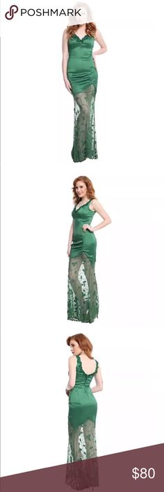 Poison Ivy Gown Cosplay DC Comics Hot Topic Poison Ivy is known for being irresistible, and her exotic charm is present in this elegant floor length dress. This taffeta dress is in Ivy's trademark shade of emerald and has lace detailing on the straps, deep sweetheart neckline and deep V-back. The uneven hem gives way to an emerald ivy-detailed lace with a scalloped bottom. The taffeta stretches,so you can dance the night away, you botanical beauty. Back zippered closure. Fully lined Great…