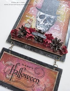 Happy Halloween Wall Panel using products by Tim Holtz and Ranger Ink