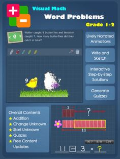 Designed to help grade 1 & 2 school children to visualize, understand and solve basic addition/subtraction word problems, this is a guided, easy to use app for early learners. I really like how prompted the steps are to maneuver through the program and that the default option is to have the app read the problems aloud. The animated word problems that use actual pictures of cows, oranges and apples are fabulous. They are laid out as a definite precursor to the bar modeling that begins in grade 3.