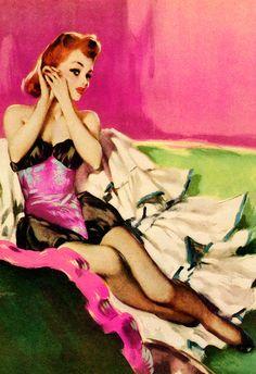 vintagegal: Illustration by David Wright, 1949 Vintage Redhead, Pin Up Girl Vintage, Retro Pin Up, Retro Look, Vintage Ladies, Vintage Art, Pin Up Illustration, Vintage Illustration Art, Miss Mosh