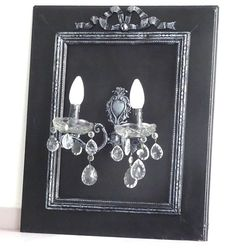 Antique French lighting // Antique French Chandelier // Electric wall // Black Electric Frame