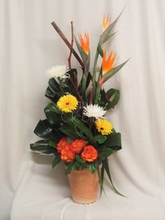 Corbeille de fleurs exotiques Arrangements Funéraires, Pots, Rose Orange, Decoration, Paradise, Birds, Flowers, Floral Foam, Exotic Flowers