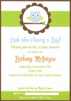 Owl Baby Shower - Giggles Galore- There are a lot of stinking cute ideas here!