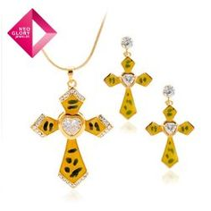 Jewelry set fashion necklace cross earrings zircon alloy necklace 14k gold plated new arrival from Reliable jewelry set suppliers on NEOGLORY JEWELRY $10.56