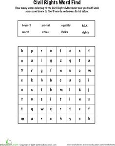Worksheets: Complete a Civil Rights Word Find