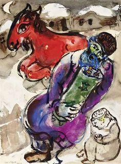 Marc Chagall - Le rabbin et la Thora ou Le cheval rouge, 1950-56