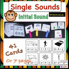 This is a set of activities dealing with initial single sounds. There are 7 pages, comprising 41 individual activity cards, plus a cover card. I usually print one set, cut and laminate individual cards and connect them together with a bookring.