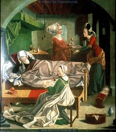 Meister von Mariapfarr, Birth of Mary, Renaissance Era, Renaissance Clothing, Medieval Life, Medieval Art, Medieval Manuscript, Illuminated Manuscript, Medieval Bedroom, St Jean Baptiste, Medieval Furniture