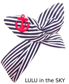 Pin Up ROCKABILLY Wire Headband - Navy Blue Nautical Sailor girl Stripe with Red Anchor Hair Wrap on Etsy, $10.95