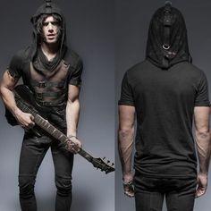 Men Black Mesh Hooded Short Sleeve Punk Rock Tops Hoodies SKU-11409342