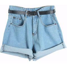 Chicnova Fashion High-Rise Cuffed Denim Shorts ($13) ❤ liked on Polyvore featuring shorts, bottoms, pants, short, loose short shorts, highwaisted shorts, loose cotton shorts, high waisted short shorts and relaxed shorts