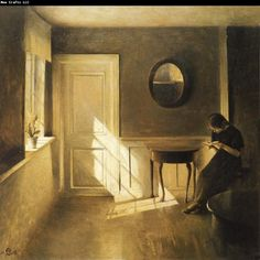 Peter ilsted Interior with Girl Reading