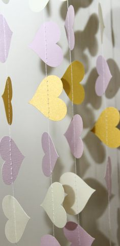 Pink, ivory, and gold paper heart garland, Valentine, wedding, party, decoration