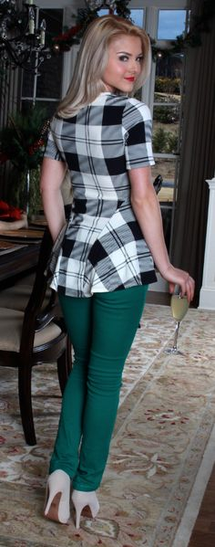 Monday Dress - Walking On Air Plaid Peplum Top, Angel in Green Colored Jeans and Nude Head Over Heels Pumps