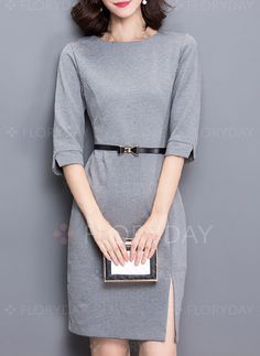 Dresses - $40.99 - Cotton Solid Half Sleeve Above Knee Casual Dresses (1955204197)