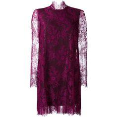 Philosophy Di Lorenzo Serafini lace shift dress (720 BGN) ❤ liked on Polyvore featuring dresses, purple shift dress, purple lace dress, purple dresses, lace shift dress and lace dress