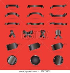 Black ribbons, icons and labels set for Black Friday, sale advertising design. Vector banner, ribbon, icon, price tag on red background.
