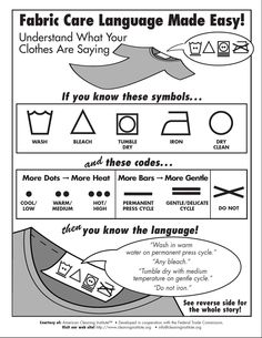 Fabric Care Language Made Easy! | Clean Living | American Cleaning Institute  http://www.cleaninginstitute.org/clean_living/fabric_care_language_made_easy.aspx