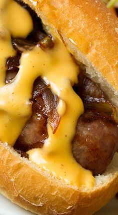 Brats with Caramelized Onions and Cheddar Cheese Sauce - Cooking Classy - Lunch Recipes Bratwurst Recipes, Sausage Recipes, Pork Recipes, Recipies, Recipes With Brats, Tostadas, Tacos, Hot Dogs, I Love Food