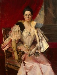 Princess Zinaida Nikolaevna Yusopova wearing the La Peregrina pearl, painted by Francois Flameng.