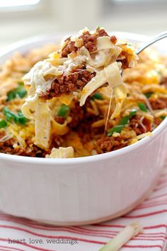 This noodle bake recipe is comfort food at its finest, great for potlucks, to welcome a new neighbor, for a fast and easy weeknight meal!!