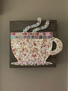 Excited to share this item from my shop: Mosaic Teacup/Coffee Cup Easy Mosaic, Mosaic Tray, Mosaic Tile Art, Mosaic Garden Art, Mosaic Art Projects, Mosaic Crafts, Diy Projects, Teacup Mosaic, Broken China Crafts