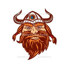 Viking Warrior Head Angry Isolated Retro Vector Stock Illustration Illustration of a head of a norseman viking warrior raider barbarian wearing horned helmet with beard viewed from the front set on isolated white background. #illustration #VikingWarriorHead