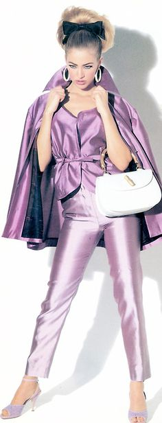 Lilac cape ensemble is a colorful addition to any fashion collection