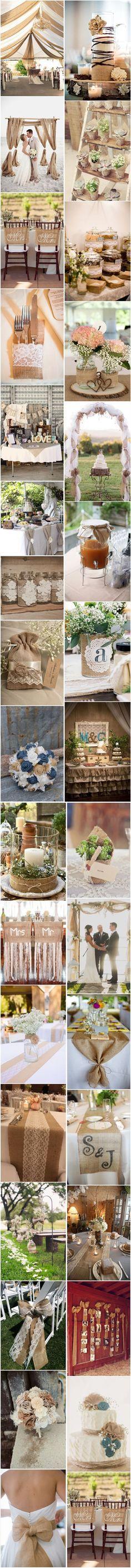 50+ Chic-Rustic Burlap Wedding Ideas, Rustic Wedding Ideas, See more: http://www.deerpearlflowers.com/50-chic-rustic-burlap-and-lace-wedding-ideas/