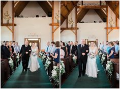 father walking bride down the aisle for wedding ceremony at whitestone inn