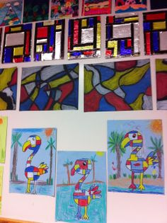Mondrian 3 ways:  animal (K,1), wavy line with oil pastels (2-3rd), and tinfoil overlaid on strips glued on a cardboard base then colored with Sharpies (4-5th)