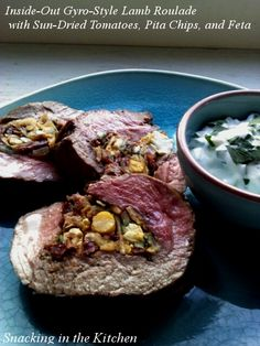 Gyro-Style Lamb Roulade with Chickpeas, Sun-Dried Tomatoes and Feta #recipe #cooking #lamb