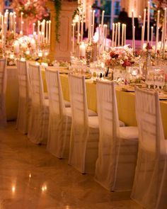 Flowy fabric chair covers.