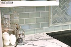 Think I found my new backsplash tile! She says its a perfect middle green/blue aqua that coordinates perfectly with RH Silver Sage - My FAVE paint color! LOVE! Via TheProjectGirl