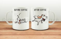 Take a sip of coffee with this cute pooch coffee mug. The funny graphic and quote make this before and after coffee mug a cute way to sip your coffee or give as a gift. Imagine a nice hot cup of coffee in the morning with this cute little mug while trying to wake up your day to a little canine humor.  The picture in this listing is for one coffee mug however both sides are shown to show you how each side looks.    Hand crafted thru a dye sublimation process this mug will last for years to…