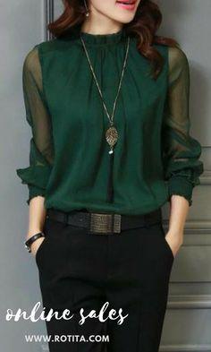 03c14f28181d2 High Neck Lantern Sleeve Deep Green Blouse A really casual blouse
