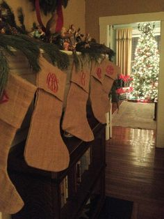 Monogrammed Burlap Christmas Stocking by GladevilleFarmhouse