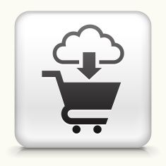 Square button: Shopping Cart Cloud Computing royalty free vector art vector art illustration