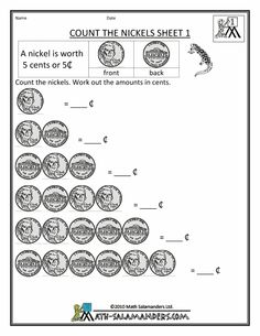 33 Best Counting Money Worksheets Images Coins, Counting Money Nickel Coin Chart Worksheet Free Math Money Worksheets Montessori Math, Preschool Math, Math Classroom, Teaching Math,