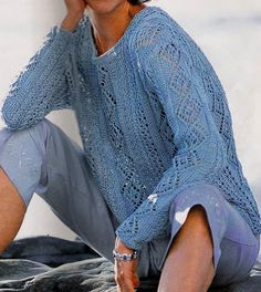 alexia dives posted Free Knitting Patterns - Blue Pullover (knitting) to their -knits and kits- postboard via the Juxtapost bookmarklet. Summer Knitting, Lace Knitting, Knitting Patterns Free, Knit Patterns, Free Pattern, Jumper Patterns, Knitting Sweaters, Knitting Ideas, Knitting Projects