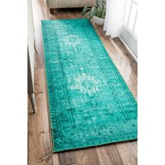 nuLOOM Vintage Inspired Adileh Overdyed Turquoise Runner Rug (2'8 x 8') | Overstock.com Shopping - The Best Deals on Runner Rugs