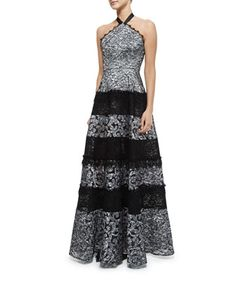 Imelda Floral Lace Maxi Halter Dress, Silver by Alexis at Neiman Marcus.