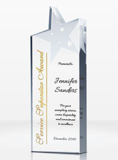 Thank the high achievers in your office with this stunning Super Star Award. It's easy to personalize and is sure to take Super Star Employee Recognition to the next level. Employee Awards, Corporate Awards, Recognition Awards, Employee Recognition, Award Plaques, Crystal Awards, Service Awards, Star Awards, Military Gifts