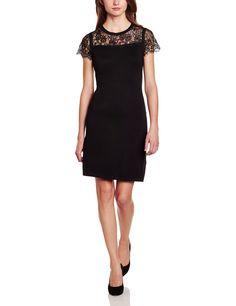 ESPRIT Collection Damen Etui Kleid mit abgesetzter Spitze, Knielang, Einfarbig, Gr. 38 (Herstellergröße: M), Schwarz (BLACK 001): Amazon.de: Bekleidung