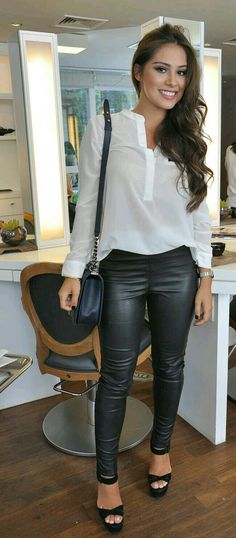 305c294a3d Casual white shirt with leather pants - women fashion