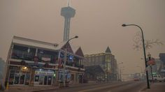 Nov. 28, 2016: Thick smoke from area forest fires looms in Gatlinburg, Tenn.