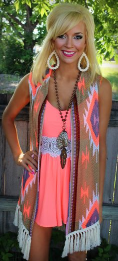 Along the Boardwalk Tribal Fringe Vest  The Lace Cactus