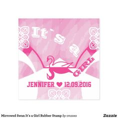 Mirrowed Swan It`s a Girl Rubber Stamp